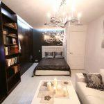 Дизайн прямоугольной гостиной спальни