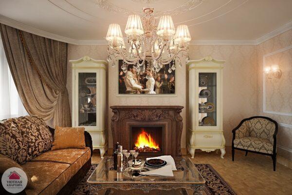 Роскошная и уютная гостиная с камином
