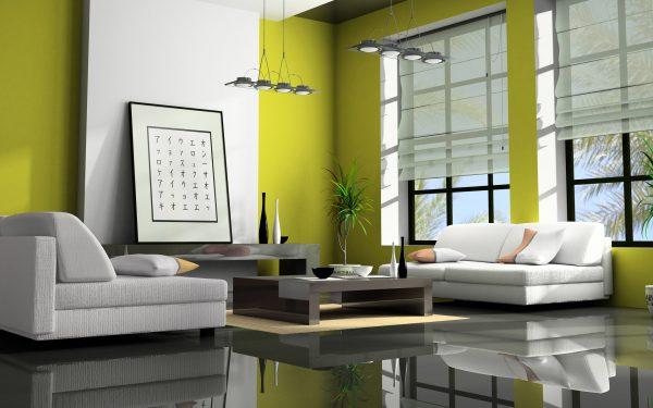 Белый диван в интерьере в японском стиле