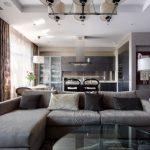 Функциональный интерьер кухни гостиной