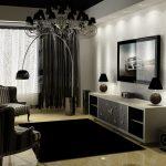 Графичный черно-белый дизайн гостиной
