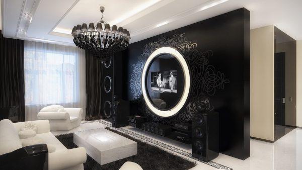 Контрастная гостиная: черные стены и белая мебель