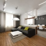Интерьер гостиной кухни в стиле минимализм