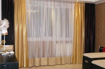 двухцветные шторы для гостинной