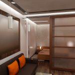Спальня совмещенная с гостиной: отделка деревом