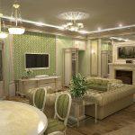 Красивая гостиная с камином