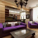 Сиреневый цвет в интерьере кухни гостиной