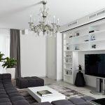 Дизайн современной гостиной в черно-белом цвете
