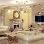 Классический интерьер гостиной с белой мебелью