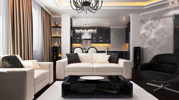 Кухня плюс гостиная дизайн фото в современном стиле