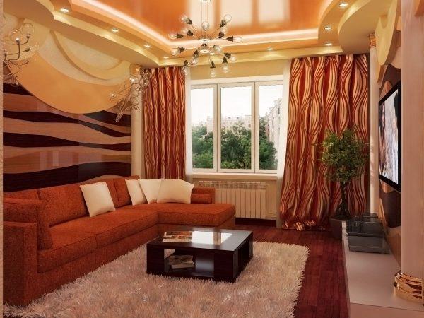 Большой раскладной диван в гостиной спальне 15 м