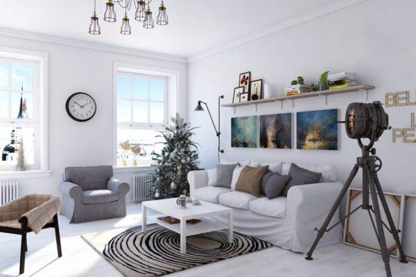 Белый цвет в интерьере гостиной в скандинавском стиле