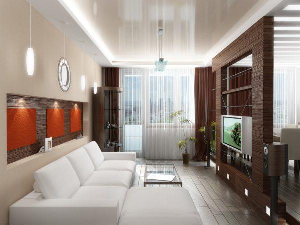 Белый диван в интерьере маленькой гостиной