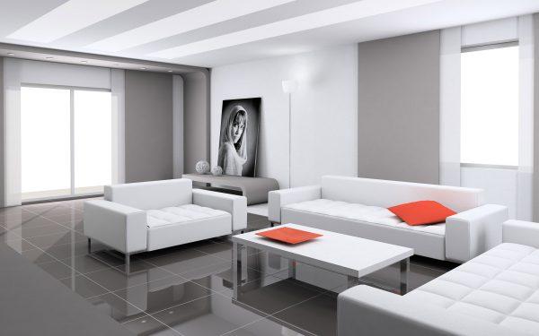 Гостиная в стиле минимализм с белой мебелью