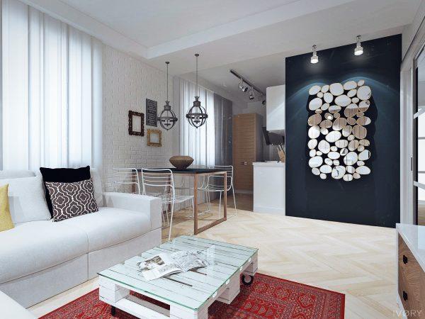Дизайн кухни-гостиной скандинавский стиль.