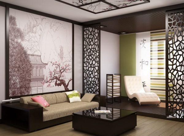 Минималистская гостиная в японском стиле