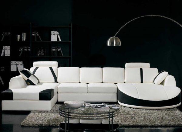 Черно-белый интерьер в стиле модерн