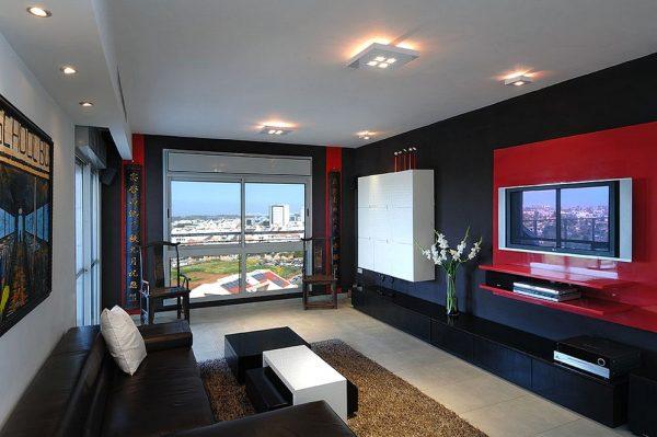 Дизайн гостиной в черно-красном цвете