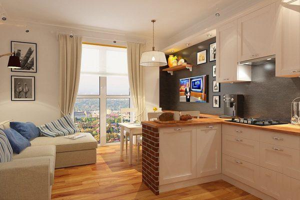 Кухня, совмещенная с гостиной и столовой зоной