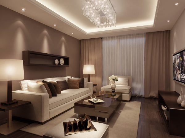 """Цвет """"шоколад"""" в дизайне гостиной 15 м"""