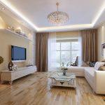 Бежевая гостиная с белой мебелью