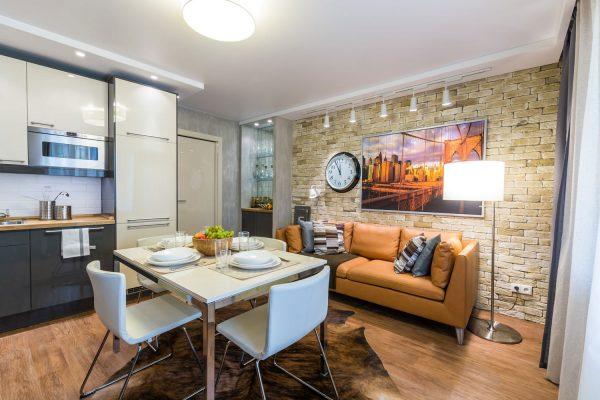 Расположение зон : кухня, гостиная, столовая