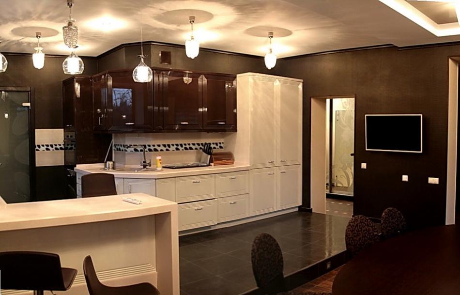дизайн интерьера кухни гостиной в современном стиле фото