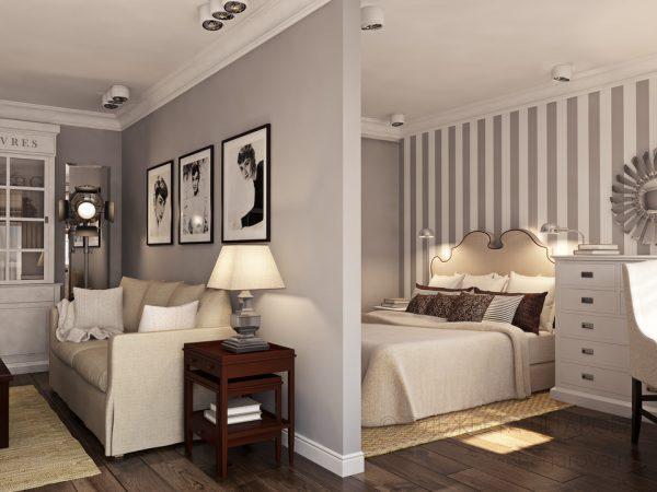 Дизайн гостиной спальни в серых тонах