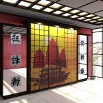 Шкаф-купе для гостиной в японском стиле