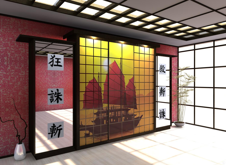Шкаф-купе для гостиной в японском стиле.
