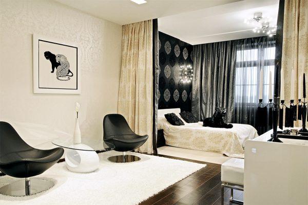 Черно-белый дизайн гостиной спальни