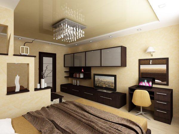 Спальня гостиная в бежево коричневых тонах