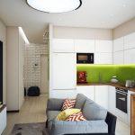Дизайн кухни-гостиной с диваном