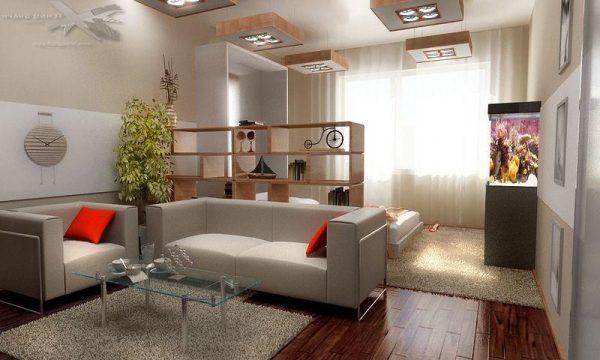 Экономичное объединение гостиной со спальней