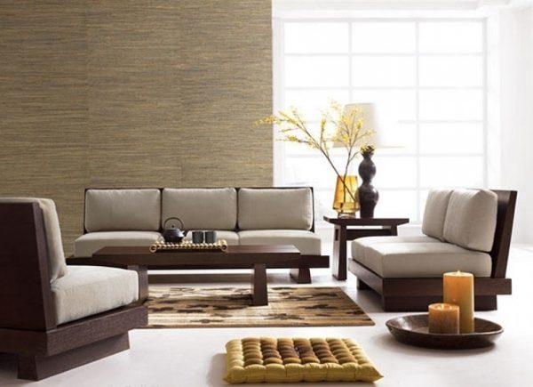Низкая мебель в гостиной в японском стиле