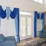 Сине-голубые шторы с ламбрекеном