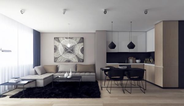 Модный дизайн интерьера гостиной