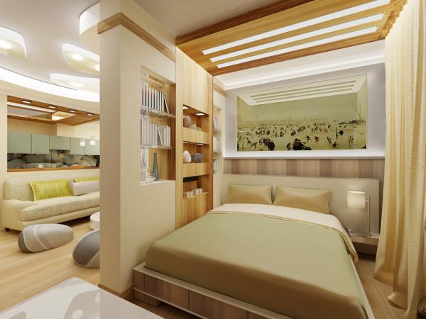 Бежевый цвет интерьера гостиной спальни