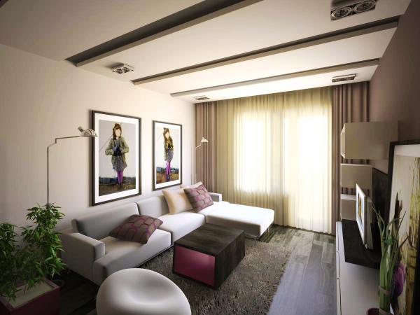 Бежевый цвет в современной гостиной спальне
