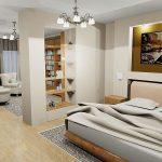 Стеллаж с открытыми полками в дизайне спальни гостиной