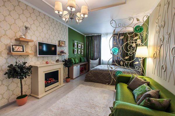 Гостиная спальня 15 м зонирование цветом